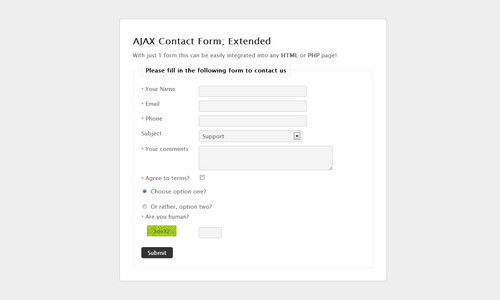 AJAX Contact Form Extended