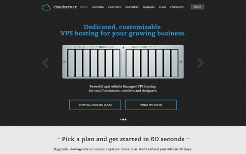 CloudServer hosting template for html5 css3