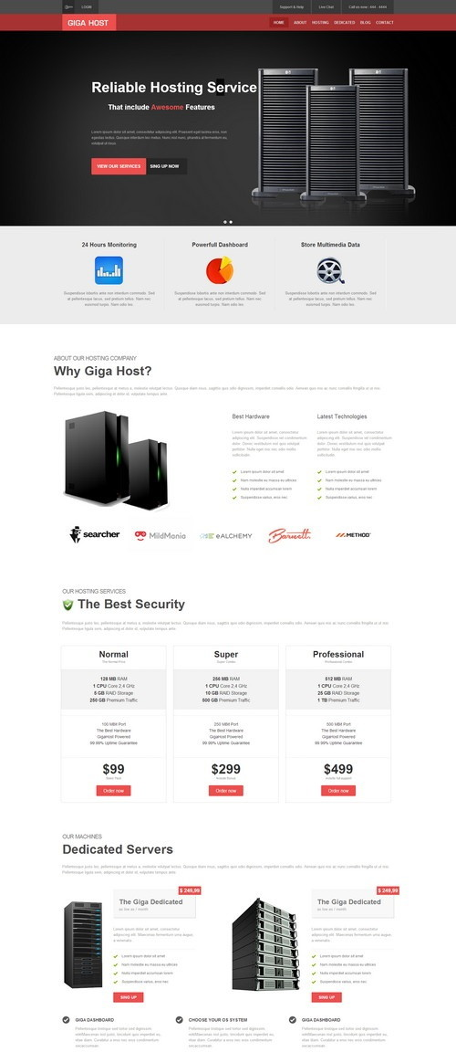 Giga Host One Page Hosting Template