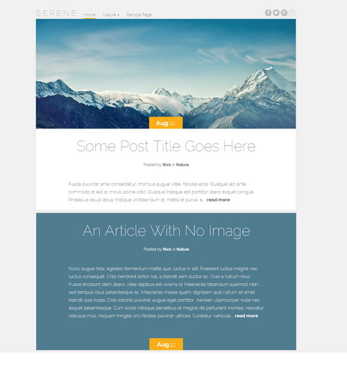 Serene - free personal blog wordpress theme