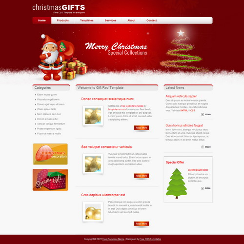red html template