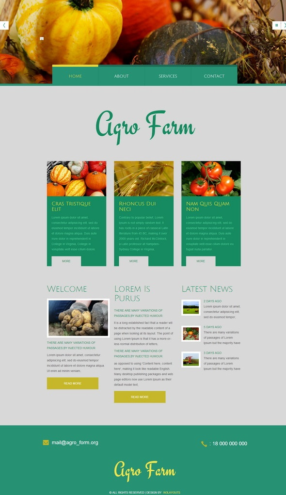 agriculture Mobile Website Template
