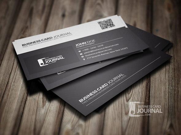 Black & White QR Code Business Card Template