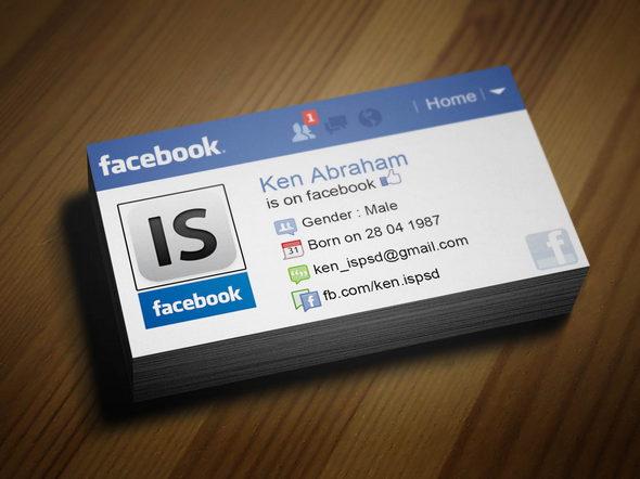 Facebook Inspired Business Card PSD