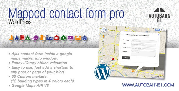 Ajax contact form in google maps marker