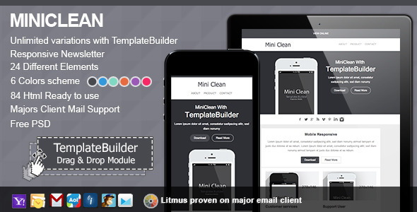 MiniClean Responsive E-mail With Templates Builder