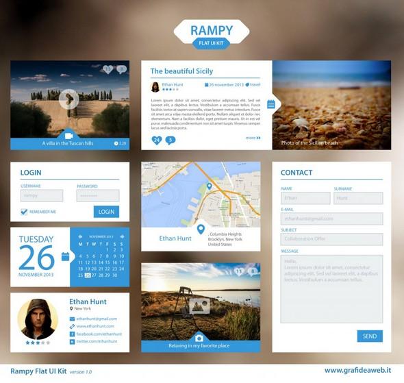 Rampy Flat UI Kit 1.0 – blue version