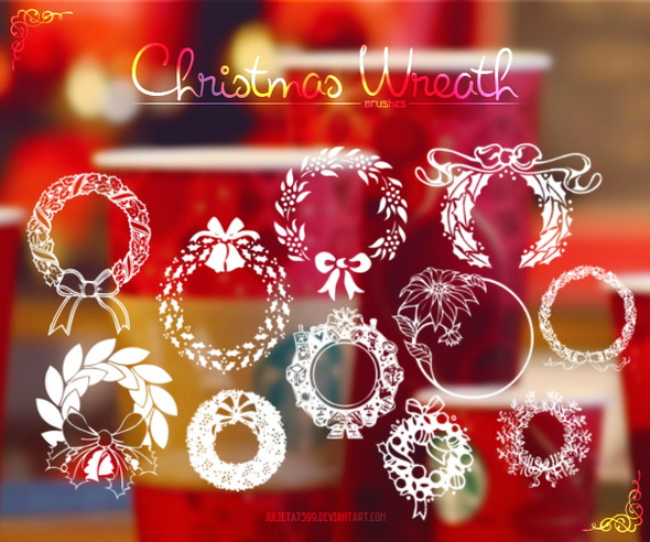 Christmas Wreath Brushes by Julieta7599
