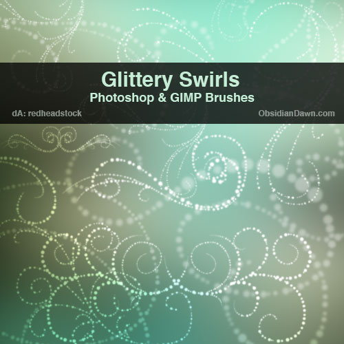 Glittery Swirls Brushes by redheadstock