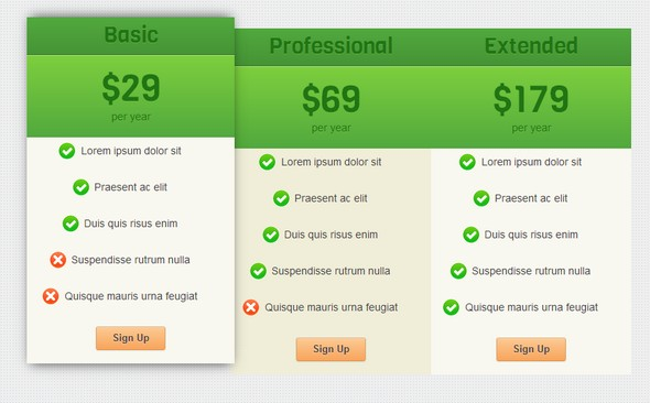 CSS3 Pricing Table UI Element