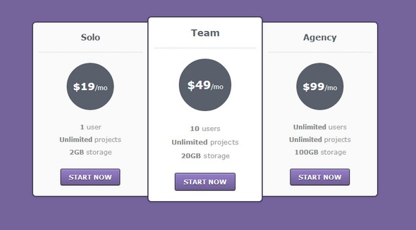 Checkout css Pricing Table