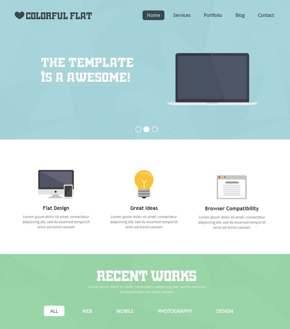 Colorful Flat Website Template