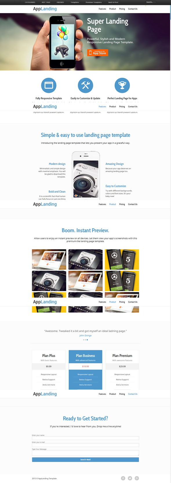 Responsive Landing Page For iPhone Android App