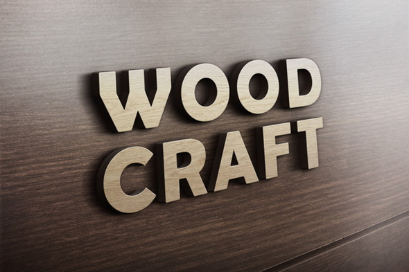 3D Wooden engraved Logo MockUp with psd files