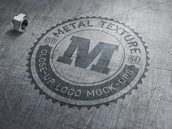 Close-Up meta Logo Mockup in psd