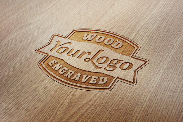 wood engraved logo mockup with free psd