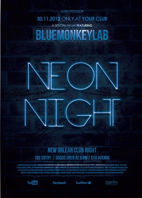 Free Neon Night Flyer