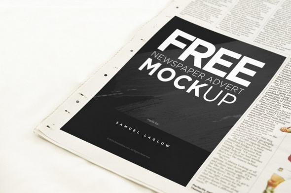 Free-Newspaper-Advert-Mockup