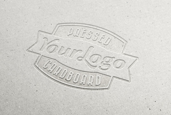 pressed cardboard logo mock-up for photoshop