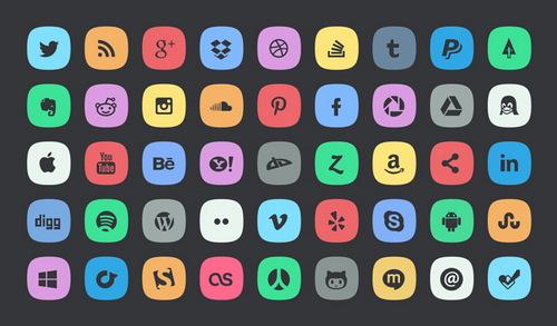 subtle social media icons