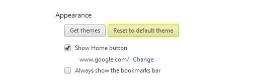 reset google theme