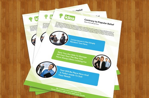 Corporate Single Side Brochure PSD Template