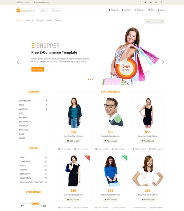 ecommerce shopping html template