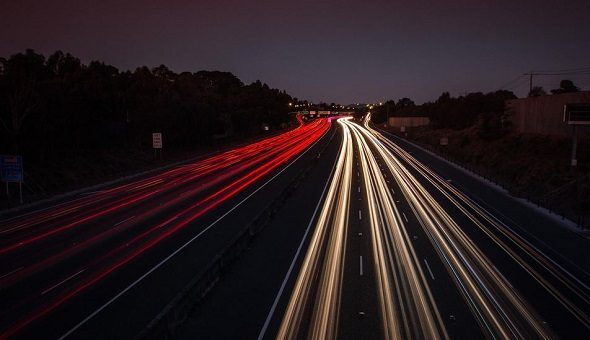 light trails on a busy highway
