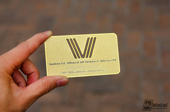 Brass Finish Card With Die-Cut Logo