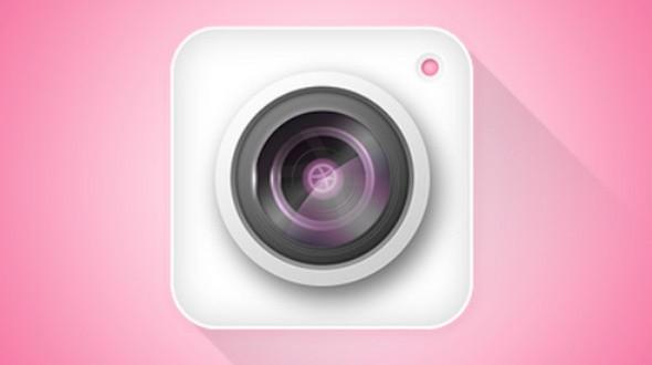 Camera App Icon - long shadow psd