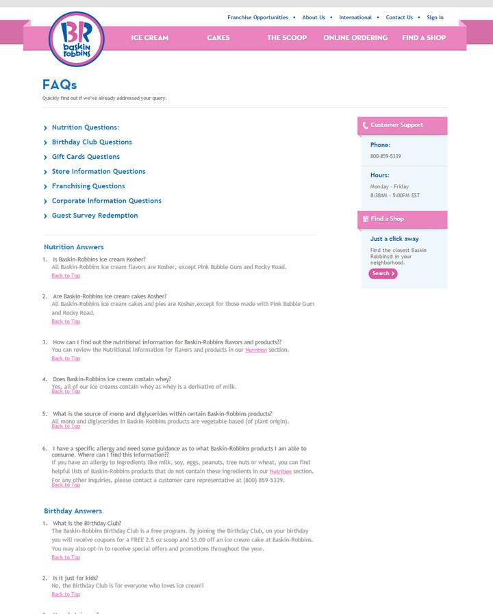 Baskin-Robbins FAQs