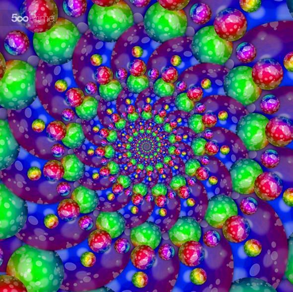 Spiral rainbow pattern