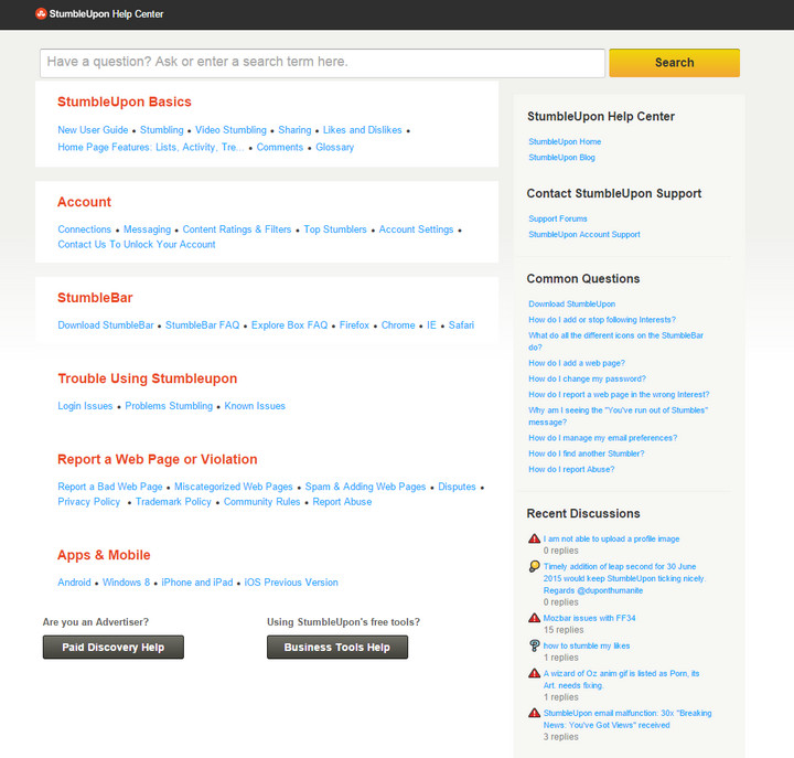 StumbleUpon faq page