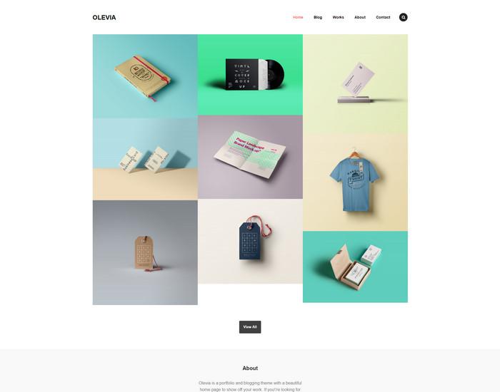 Olevia - free portfolio and blogging theme