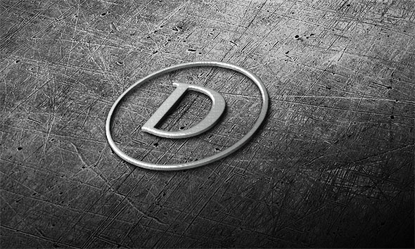steel logo mock-up in 3D