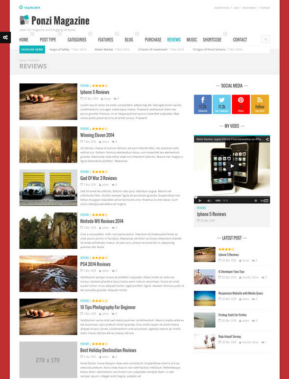 Ponzi Responsive WordPress Theme Magazine Review