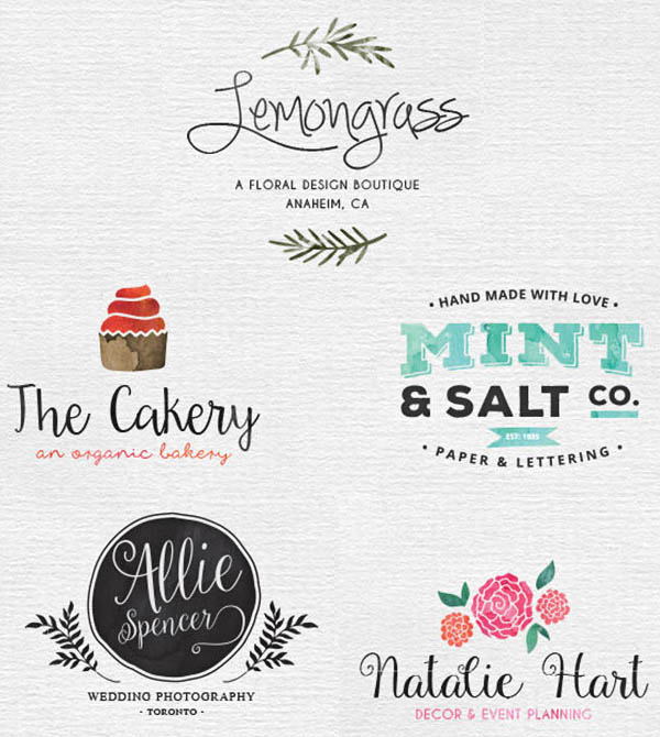 Watercolor-Logos in psd