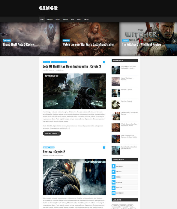 Gamer - creative gaming blogger theme
