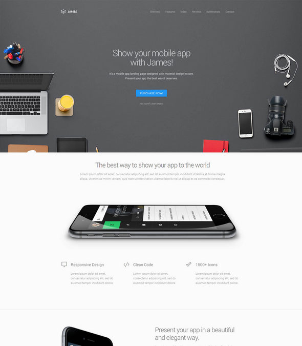 Material Design WordPres App Theme