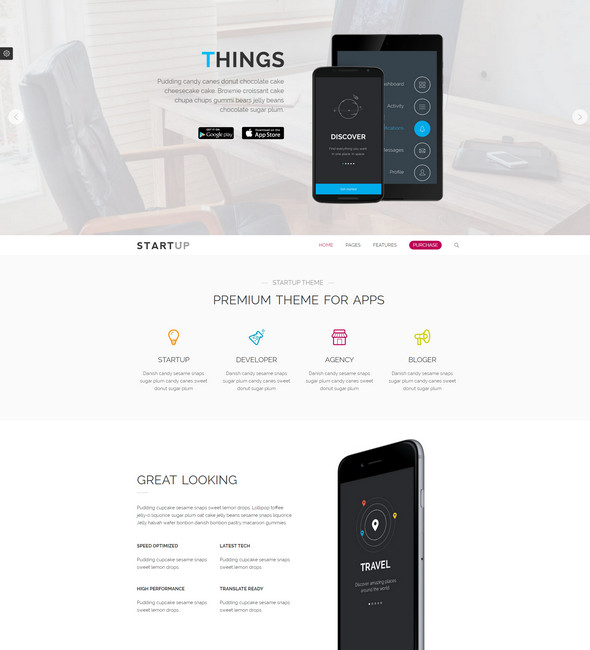 startup theme - landing wordpress theme
