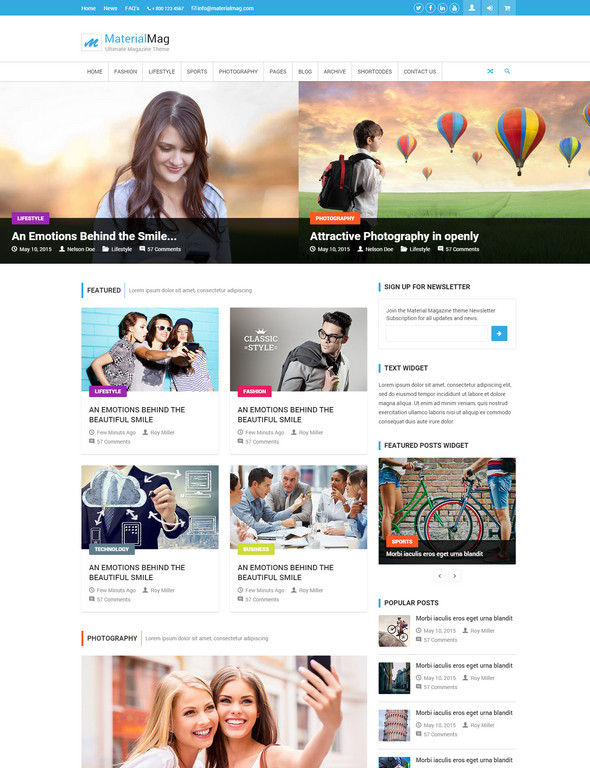 materialmag - magazine website template with html5