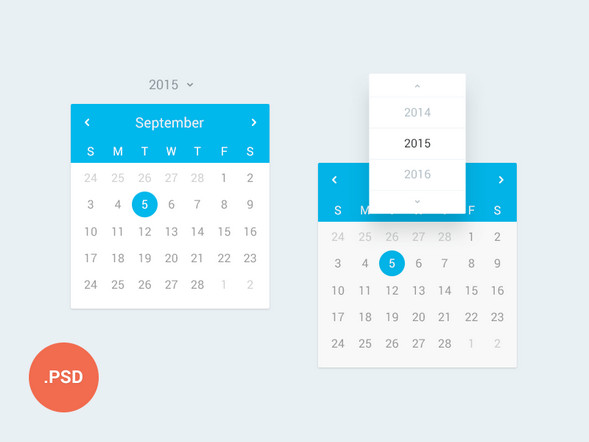 free calendar psd files - September 2015