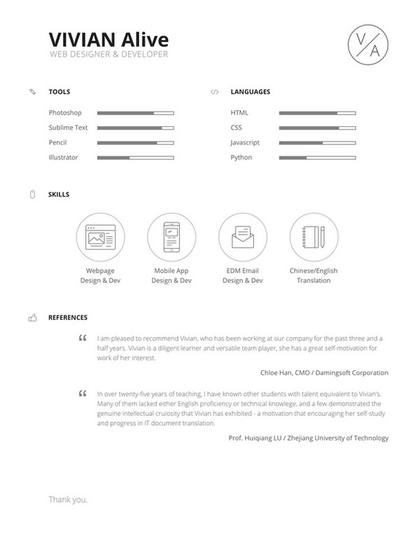 resume free template psd