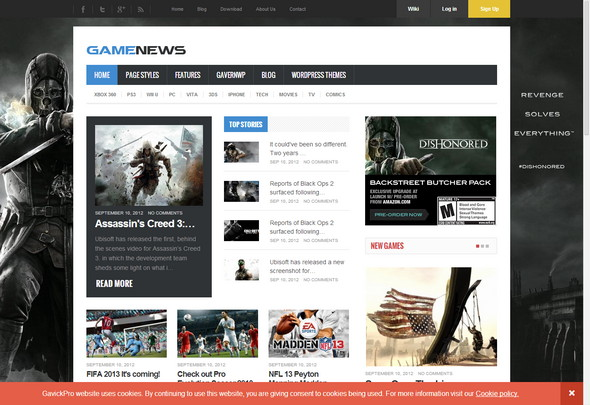 GameNews - Gaming WordPress theme