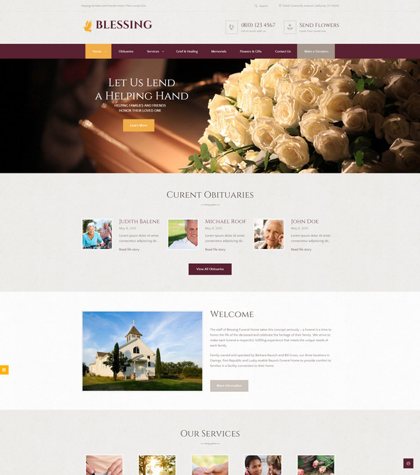 blessing - fundraising wordpress theme for funeral services