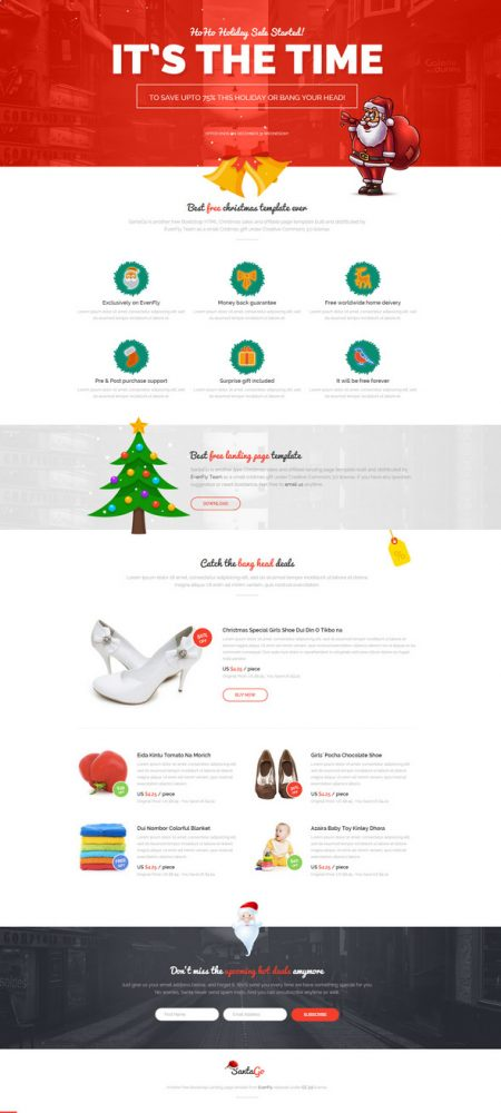 chritmas email template with bootstrap