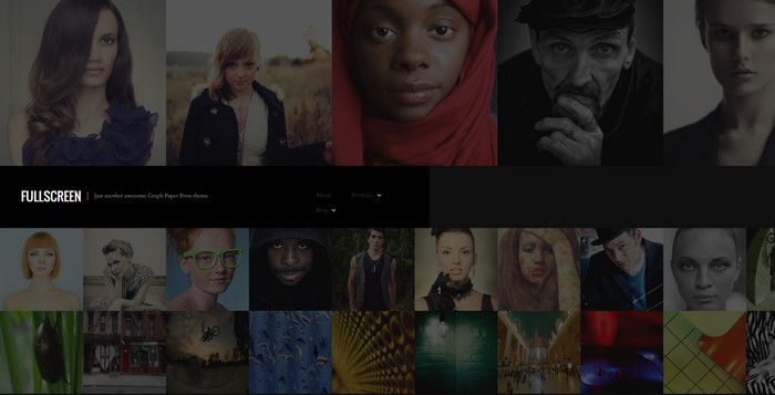 one-column fullscreen photography theme