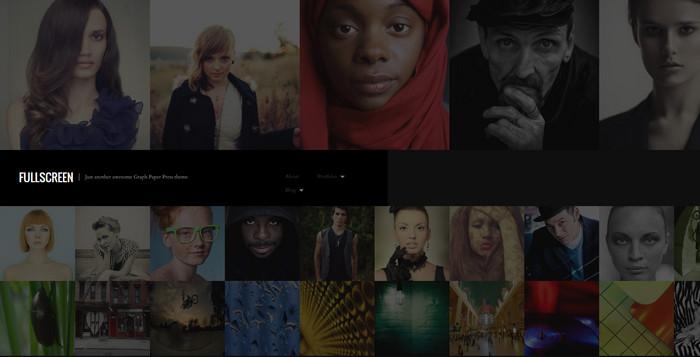 one-column fullscreen photography theme