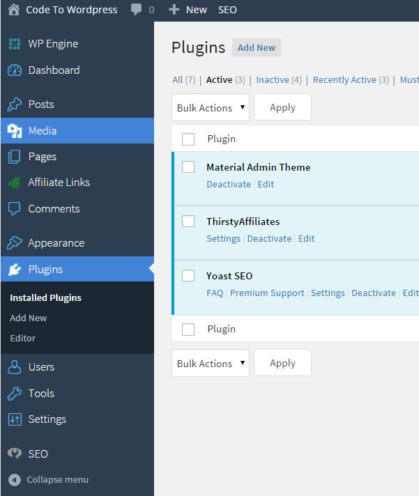 material WordPress Admin Theme
