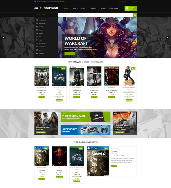 polygon wordpress - digital shop theme for gamers